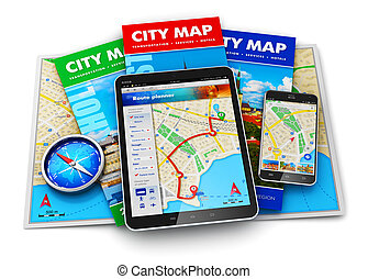 GPS navigation, travel and tourism concept - Creative...