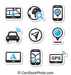 GPS, navigation travel vector icons - Black and blue labels...