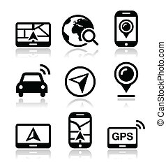 Modern black icons set with reflection - navigate road, map concept