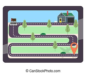 GPS navigation. Web map with marker in tablet. Vector illustration