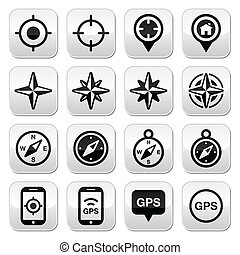 Travel, location vector buttons set isolated on white