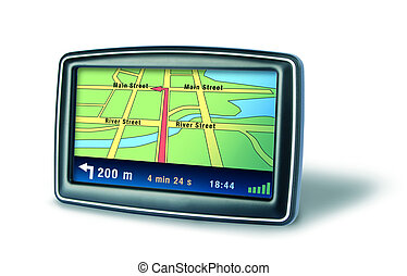 Gps navigator device - Gps auto navigator device on white...