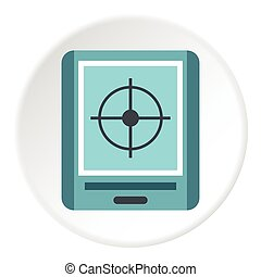 GPS navigator icon, flat style
