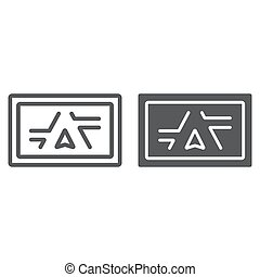 Gps navigator line and glyph icon, electronic and device, monitor map sign, vector graphics, a linear pattern on a white background, eps 10.