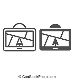 GPS navigator line and glyph icon. Satellite gps vector illustration isolated on white. Map outline style design, designed for web and app. Eps 10.