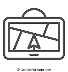 GPS navigator line icon. Satellite gps vector illustration isolated on white. Map outline style design, designed for web and app. Eps 10.