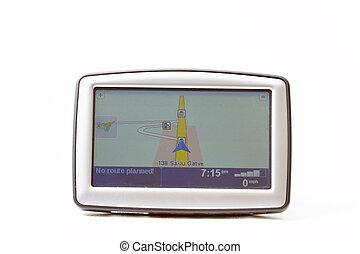 GPS navigator on white background