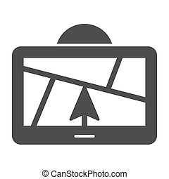 GPS navigator solid icon. Satellite gps vector illustration isolated on white. Map glyph style design, designed for web and app. Eps 10.