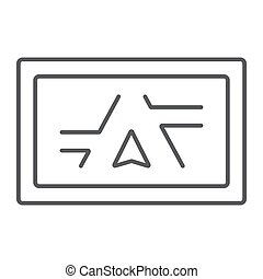 Gps navigator thin line icon, electronic and device, monitor map sign, vector graphics, a linear pattern on a white background, eps 10.