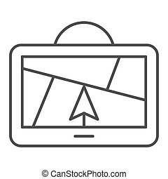 GPS navigator thin line icon. Satellite gps vector illustration isolated on white. Map outline style design, designed for web and app. Eps 10.