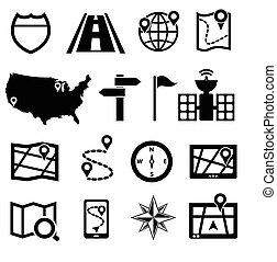 gps, navigazione, strada, icone