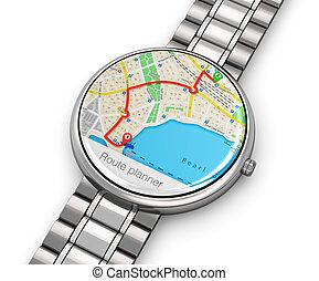 gps, navigazione, su, smartwatch