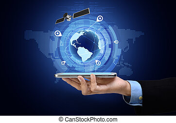 GPS on smart phone - Conceptual image of Global Positioning...