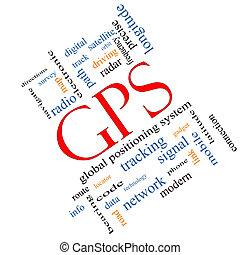 gps, palabra, nube, concepto, angular