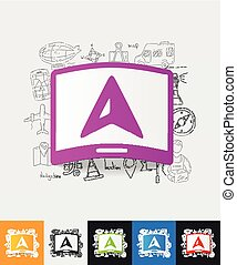gps paper sticker with hand drawn elements