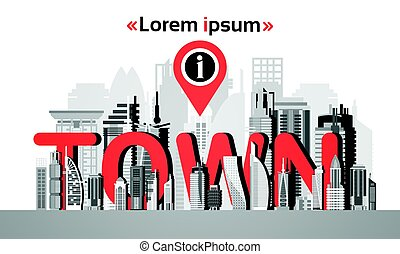 Gps Pin Map Over City View Cityscape Background Navigation Skyline with Copy Space Infographic