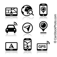 gps, podróż, wektor, nawigacja, ikony