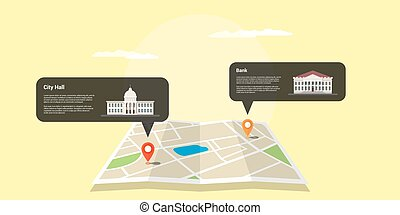 gps positioning concept - picture of a map with two GPS...