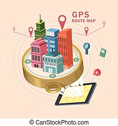 GPS route map 3d isometric infographic
