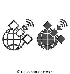 Gps satellite line and glyph icon. Global signal vector illustration isolated on white. Communication outline style design, designed for web and app. Eps 10.