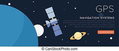 GPS Satellite on the space. Flat vector illustration.