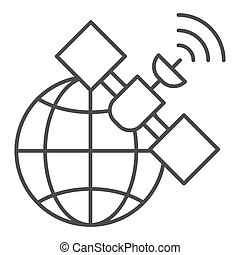 Gps satellite thin line icon. Global signal vector illustration isolated on white. Communication outline style design, designed for web and app. Eps 10.