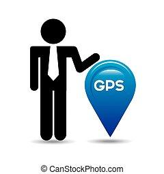gps, servizio, disegno