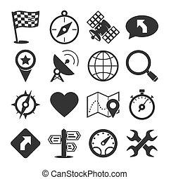 gps, set, navigazione, icone