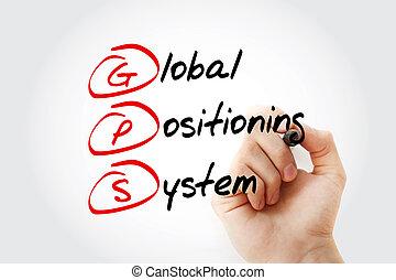 gps, siglas, posicionar, -, sistema, global