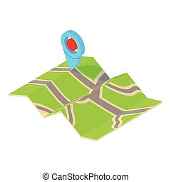 GPS sign on map icon, cartoon style