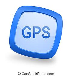 gps square glossy blue web design icon