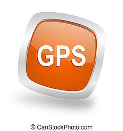 gps square orange glossy chrome silver metallic web icon