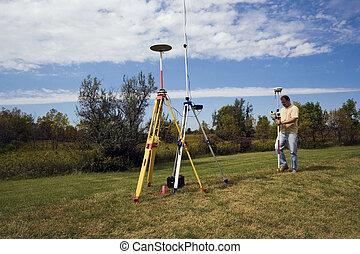 GPS survey - surveyor in the field