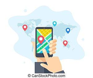 gps, telefone, móvel, vetorial, design., localização, ilustração, mapa, cidade, navegação, apartamento, pointers., segurando, etiquetas, mundo, concepts., app, mão