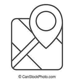 Gps thin line icon. Map with pin vector illustration isolated on white. Marker locate outline style design, designed for web and app. Eps 10.