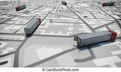 GPS tracking. 3D Rendering - Image of map of streets with...