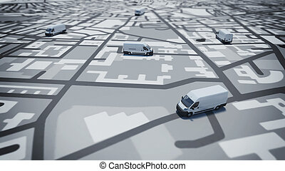 GPS tracking - Image of map of streets with trucks