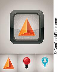 gps, vektor, navigation, ikon