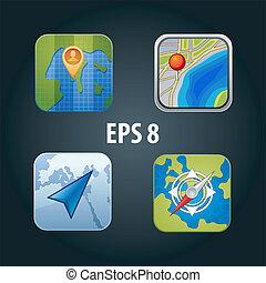 gps, vetorial, jogo, ícones