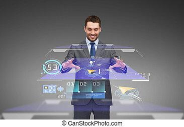 gps, virtuel, navigateur, fonctionnement, carte, homme affaires