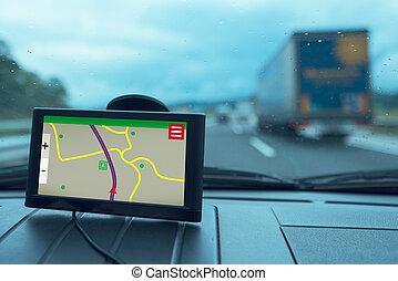 gps, voiture, appareil, navigation