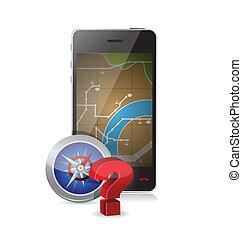 gps vs compass concept illustration design