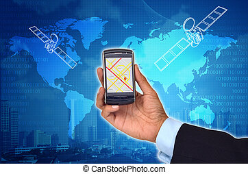 GPS with a smart phone - Conceptual image of Global...