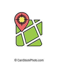 GPS with target location vector icon symbol isolated on white background