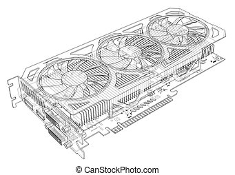 Gpu Card Outline. Vector