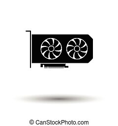 GPU icon. Black background with white. Vector illustration.