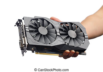 gpu video card in hand, isolated on white