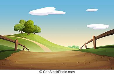 gráfico, árbol, y, colina