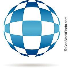 gráfico, abstratos, vetorial, desenho, tech, logo., globo