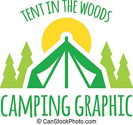 gráfico, acampar tienda